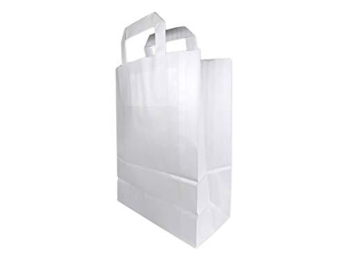 25 Petit Sac Papier kraft blanc écologique sac avec poignée largeur 22 x 28x 10 cm sac cabas anse plate solide résistant petit élégant solide sac boutique sac magasin sac course sac déchet bio