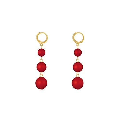S925 aguja de plata bola roja pendientes de personalidad temperamento pendientes largos de borla pendientes de moda pendientes