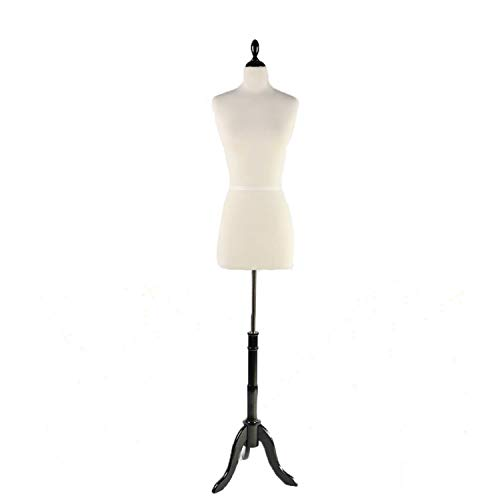 PDM WORLDWIDE Female Mannequin Torso Pinnable Dress Form with Wooden Tripod Stand Adjustable Height 61