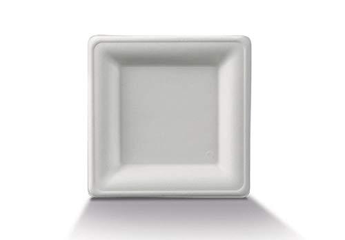 50 Assiettes carrées en Fibre de Canne à Sucre 100% biodégradables (16 cm)