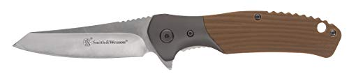 Smith & Wesson Stave 7.75in High Carbon S.S. Ultra Glide Folding Knife with 3.25in Clip Point Blade and Stainless/G10 Handle for Outdoor, Tactical, Survival and EDC