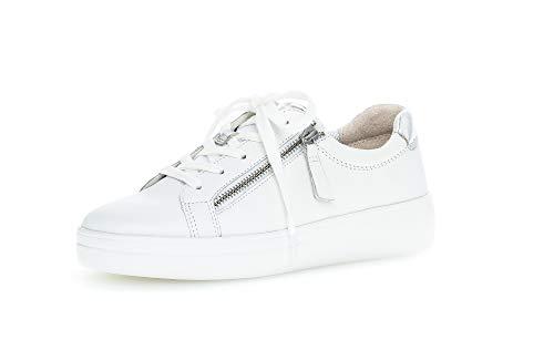 Gabor Damen Sneaker, Frauen Low-Top Sneaker,Comfort-Mehrweite,Optifit- Wechselfußbett, schnürschuh Plateau-Sohle Damen,Weiss/Silber,42 EU / 8 UK