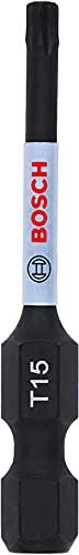 Bosch Professional 1 punta de atornillar Impact Control T15, 50 mm, vástago hexagonal, Pick and Click, accesorios de taladro de impacto