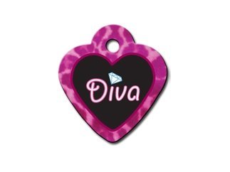 Diva Princess Collection Heart Shape Personalized Custom Engraved Pet ID Tags! (Diva, Small)