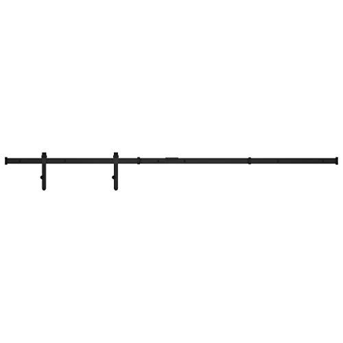 vidaXL Kit Mini Puerta Corredera de Armario Herrajes Riel Deslizante Rodillo Percha Almacén Cocina Estudio Bricolaje Hogar Acero Carbono 183 cm