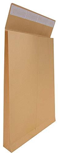 Idena 346096 - Faltentasche B4 haftklebend ohne Fenster, 4 cm Boden, 50 Stück, braun