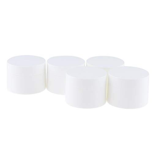perfeclan 5pcs Pot Cosmétique Vides en Plastique Stockage Crème avec Capuchons Blanc - 30g