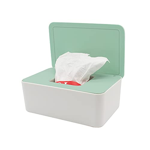Caja para toallitas húmedas, caja de papel higiénico, caja para toallitas húmedas, caja de almacenamiento de toallitas húmedas, dispensador de plástico con tapa para el hogar y la oficina
