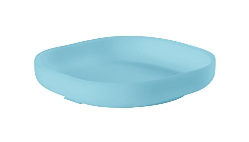 BEABA Silicone Suction Plate - Soft Unbreakable, Non-Slip Suction Bottom - Easy to Clean - Dishwasher and Microwave Safe, Great for Babies and Toddlers (Sky)