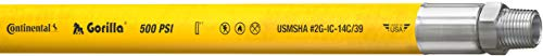 Continental Gorilla Yellow Nitrile Mulripurpose Hose, 3/8' ID x 25' Length Reel, 500 PSI Max Working Pressure, 3/8' NPT Male Couplings Connection