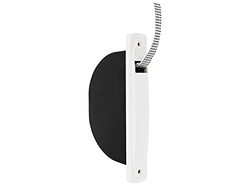 Amig - Recogedor para Persianas Compacto de Empotrar o Encastrado sin Pivote con Frente de Plástico y Cinta Blanca con Pintas Negras de 14 mm de Diseño Sencillo y Atemporal | Medidas: 2,8 x 18 x 9 cm