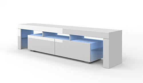LOWBOARD TV Board 190 cm onderkast met LED, televisiekast, TV-kast Solo, TV kast HiFi-Tafel, LED-verlichting hoogglans wit/zwart/grijs 190 cm matwit/wit hoogglans