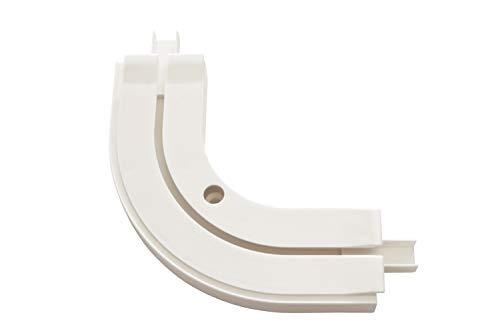 Gardinia Rundbogen GE1, Für Verlängerungen von 1-läufigen Vorhangschienen, 90°, 13,5/13,5 cm, Kunststoff, Weiß