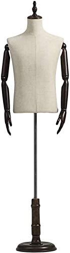 JinSui Maniqui Regulable Costura Maniqui Busts Torso Body Dress Form con Base Redonda y Brazos de Madera Ropa Maniquí de exhibición Realista Maniquí Masculino Profesional