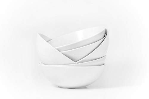 Amuse- Professional Porcelain Bistro Collection Classic Bowls for Cereal, Soup and Fruit - Set of 6-25 oz