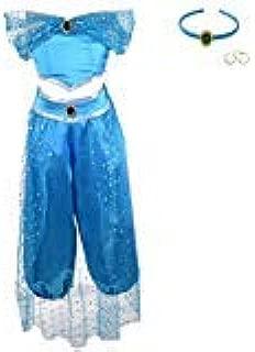 Lito Angels Girls Princess Jasmine Costumes Arabian Princess Dress Up Halloween Outfit with Headband + Earwings
