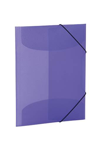 HERMA 19581 Sammelmappe DIN A4 Transluzent Violett aus stabilem Kunststoff, abwaschbar und strapazierfähig, mit 3 Innenklappen, Gummizugmappe, Eckspanner-Mappe, 1 Zeichenmappe für Kinder