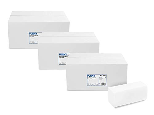 Funny Papierhandtücher Hochweiss, Zellstoff, ZZ/V-Falz, 4000 Stück im Karton, 24,5 x 22 cm 2 lagig (3x 4000)