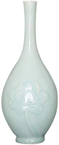 YONGYONGCHONG Jarrón de cerámica moderno simple Lotus para decoración de flores secas Art Home Home Home Salón Dormitorio Oficina Escritorio Verde 40 x 4,7 in Jar