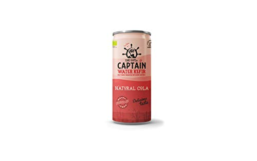 Gutsy Captain Water Kefir - Live Cultured Drink with Kefir Cultures - Dairy Free, Low Calorie - 12 x 250ml Cans (Natural Cola)