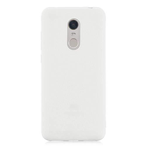 cuzz Funda para Xiaomi Redmi 5 Plus+{Protector de Pantalla de Vidrio Templado} Carcasa Silicona Suave Gel Rasguño y Resistente Teléfono Móvil Cover-Blanco