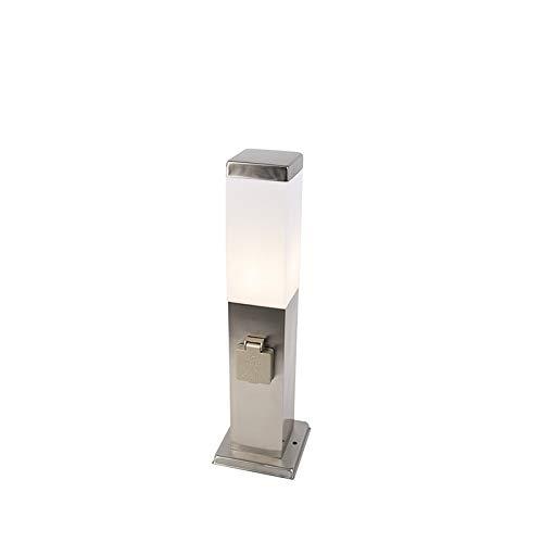 QAZQA Design/Modern Außenleuchte/Wegeleuchte/Gartenlampe/Gartenleuchte/Standleuchte Malios Pfahl 45 mit Steckdose Stahl/Silber/nickel matt/Außenbeleuchtung Kunststoff/Edelstahl Rechtec