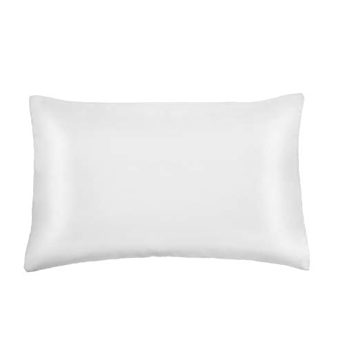 Pro Goleem Toddler Pillow with Satin Pillowcase Soft Toddler Pillow for Sleeping Protect Hair 13''x18'' Machine Washable Infant Kid Child Perfect for Travel, Toddler Cot, Bed, Car and Crib, White