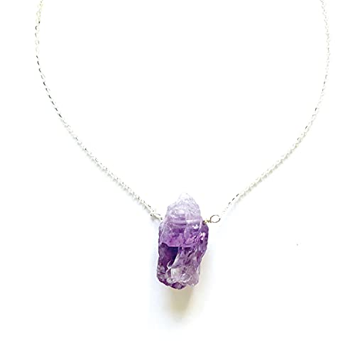 Joyfulmuze Raw Amethyst Necklace, Natural Quality Energy Healing Stone, Purple Pendant Crystal, Sterling Silver Chain, Handmade Jewelry for Women Man, Dainty Birthday Gift, 18 inches
