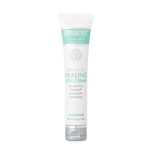 American Biotech Labs - Silver Biotics - Advanced Healing Skin Cream - Infused with SilverSol and Hyaluronic Acid - Unscented - 1.2 oz.
