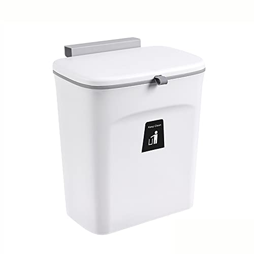 Cucchiai da cucina 9L Kitchen Hanging Trash Can, Large Opening Compost Rubbish Bin Flip Up/Sliding Sealed Lid Removable Hook Anti-Odor Spread No Need Bend Over, for Counter Toilet(Color:White)