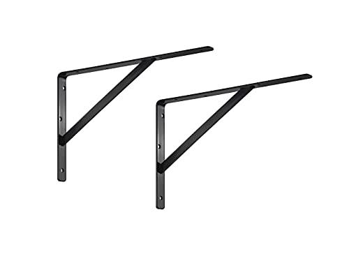 ALPENSTAHL Schwerlast-Konsole Metall Regalwinkel für Wandmontage   ATHENA   Schwerlastträger 300 kg   Tiefe: 400 mm   Regalhalter Schwarz   2 Stück - Wandwinkel für Regal im Keller & Garage