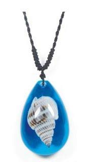 Real Surfers Sea Life Periwinkle Seashell Beach Necklace Charm Blue - Adjustable Length