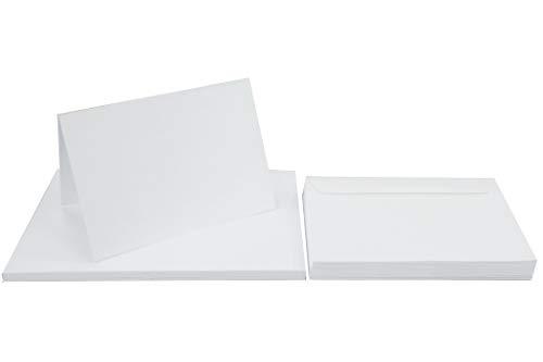 Netuno 50 Falt-Karten mit Umschlägen DIN A6 Karten Weiß blanko + 50 Umschläge DIN C6 Kartenset Klappkarten + Briefumschläge C6 Papier-Karten blanko zum Selbstgestalten Karten Set mit Umschlag Weiß