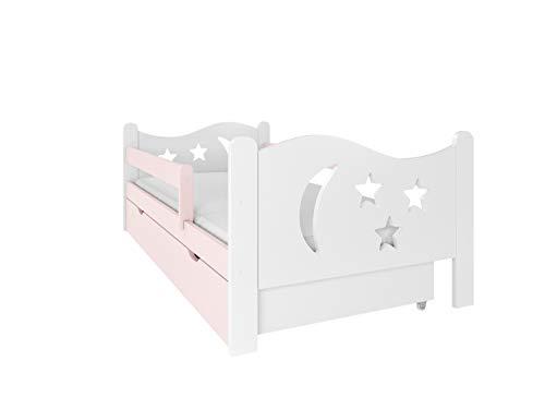 (160x80 sin colchón, Rosado) NeedSleep - Cama infantil con protección anticaídas, 140x80 cm, 160x80 cm, con somier y cajón, para niños a partir de 2 años, niña, niña, niño, Montessori, cama funcional