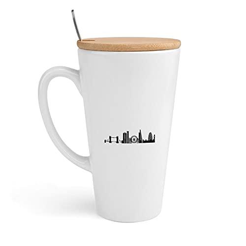 20 Oz Ceramic Mug Coffee Cup, London Skyline Large Tall White Ceramic Milk Tea Cup With Handle and Lid