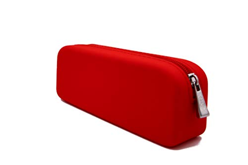 Gorgcase Silicone Pen Pencil Bag case with Zipper, Water Leak Resistant,Toiletry Essentials Holder, Cosmetic Pouch Organizer Drop kit for Personal Items,School,Gift,Kid,Teen, Student, Red