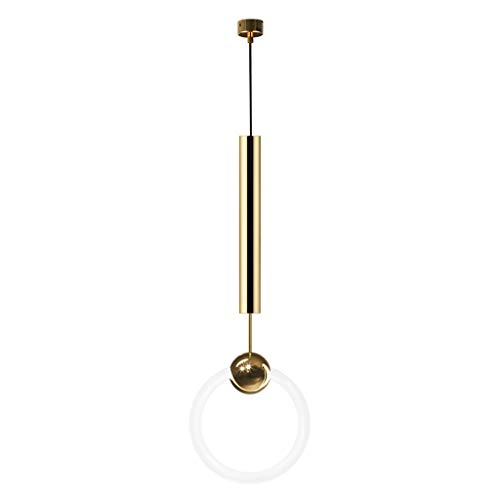 Yyqx Lámparas Colgantes Luz de Lujo de la Personalidad de Noche Pequeña Araña de Oro del Anillo Creativo Restaurante de la lámpara Barra giratoria Escalera Araña Lámpara de Techo Colgante