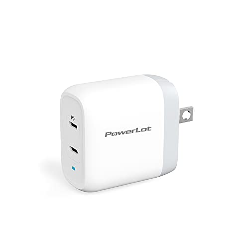 USB C Charger PowerLot 40W 2 Port GaN PD 3.0 Fast Wall Charger with a 20W USB C Port for MacBook Air, iPhone 12/12 Pro/Max/12 Mini, iPad Pro, Galaxy S21/S20/Note 20, Switch and More