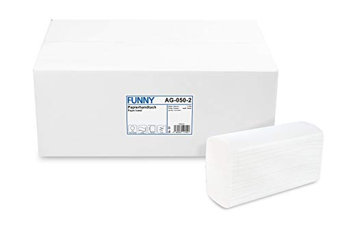 Funny Papierhandtuch, Z-Interfold, 20.6 x 24 cm, gefaltet 8,5 cm tief, 2lag, hochweiß, 3750 Blatt, 1er Pack (1 x 1 Stück)