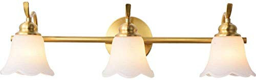 JFFFFWI Lámpara de Espejo LED Luz Frontal de Espejo Baño Latón, Luces de Espejo de tocador Lámpara de Pared Luz de Maquillaje E14 Fuente de luz 7W 3 Colores Regulables Pétalos de Flores Pantalla de