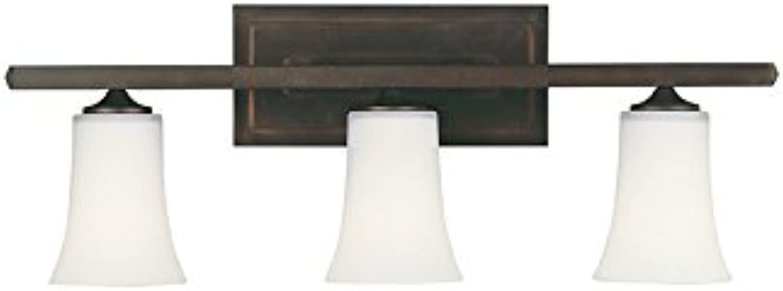 Feiss VS8703-ORB Boulevard Glass Wall Vanity Bath Lighting, Bronze, 3-Light (24 W x 9 H) 300watts