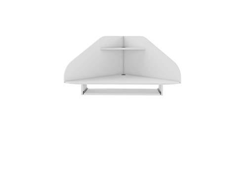 "Manhattan Comfort Bradley Mid Century Modern Home Office Floating Corner Desk with Keyboard Shelf, 43.98"", White"