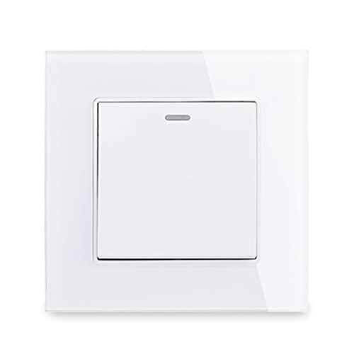 HLY-CASE 1 Gang 1 Way Class Panel Light Interruptor Encendido/Apagado Rocker Wall Interruptor Interruptor 16A Diseño Elegante (Color : White)