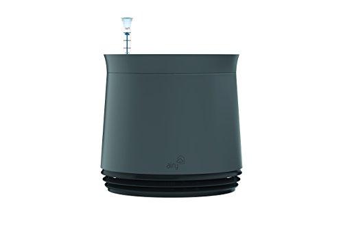 AIRY Pot - Luftreiniger Blumentopf für Allergiker - Patentierter Pflanzen-Topf als natürlicher Raumluftfilter gegen Schadstoffe, Haus-Staub, Pollen, Geruch (Schwarz, Gen. 1)