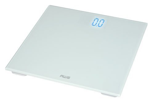 American Weigh Scales ZT-150-WT Digital Glass Top Bathroom Scale with Blue...