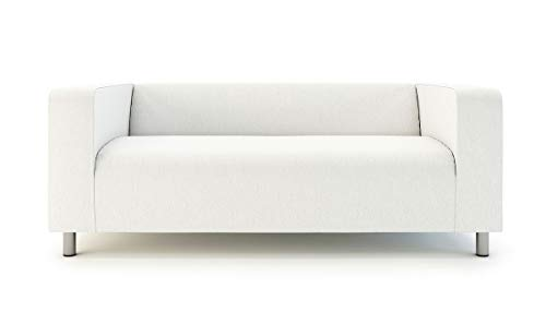 MASTERS OF COVERS Klippan Loveseat Slipcover for The IKEA 2 Seater Klippan Loveseat Sofa Cover Replacement-Cotton White