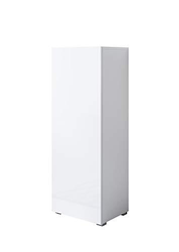 muebles bonitos Armario Modelo Luke V1 (40x128cm) Color Blanco con Patas estándar