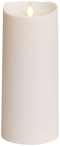 Luminara Outdoor Flameless Candle: Plastic Finish Unscented Moving Flame Candle With Timer (9' Ivory) White