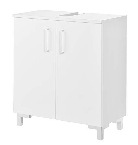 FACKELMANN Waschtischunterschrank Atlanta/Schrank mit gedämpften Scharniere/Maße (B x H x T): ca. 60,5 x 68 x 32,5 cm/hochwertiger Schrank fürs Bad mit 2 Türen/Korpus: Weiß/Front: Weiß