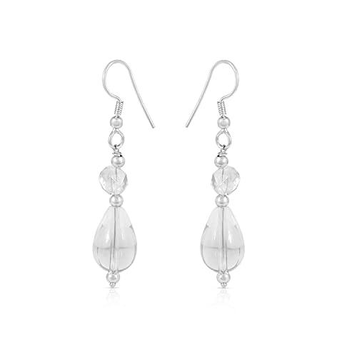 Gemshiner Pendiente de gancho con forma de gota de pera de cuarzo blanco en plata de ley 925 para mujeres y niñas Regalo perfecto para ella